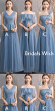 Cheap Light Blue Tulle Bridesmaid Dresses , Long Bridesmaid Dresses EW0213