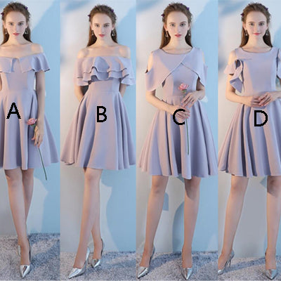 Beautiful Straight &Bateau Neck   Above  Knee  Length Short Bridesmaid Dresses EW0193
