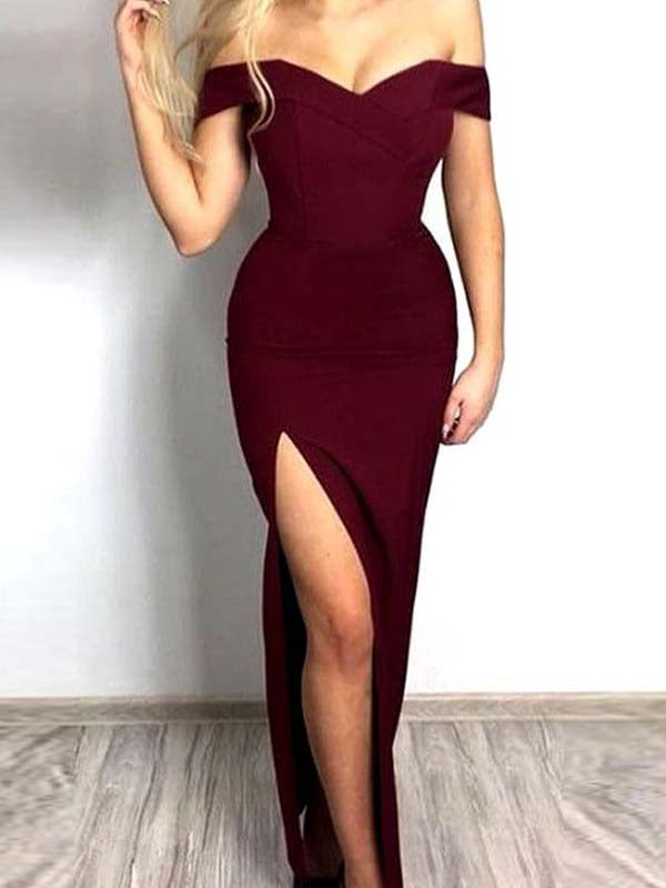 Affordable Burgundy Off The Shoulder Side Slit Long Evening Prom Dresses, BW0180