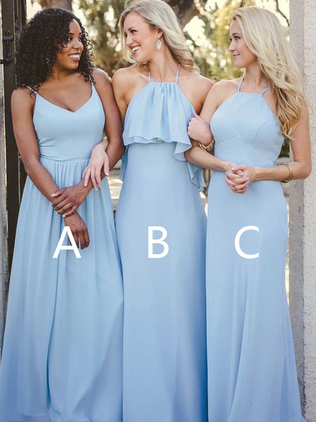 Simple Light Blue chiffon V-Neck & Halter Long Bridesmaid Dresses, BW0157