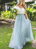 Two Pieces White & Blue Tulle Long Bridesmaid Dresses, BW0159