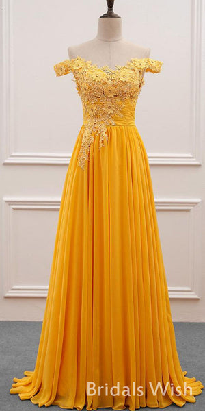 Charming Chiffon Off-Shoulder Neckline A-line  Prom Dress With Beaded Lace Appliques BW0304