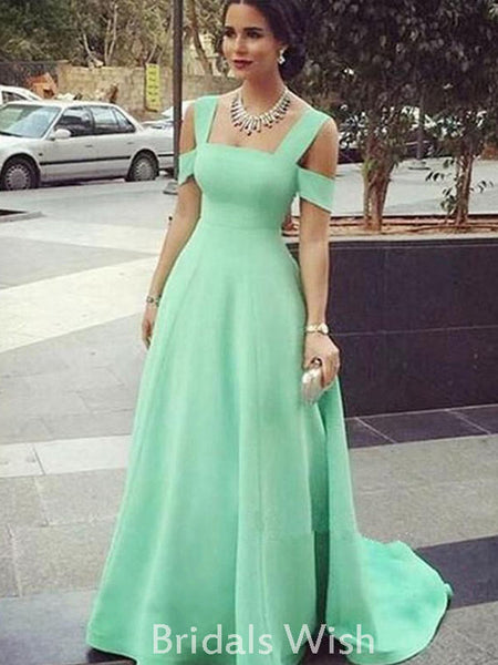Unique Green Charming Jersey Floor-length Prom Dress BW0404