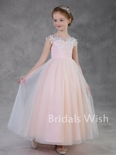 Pretty A-line Pink Lace Applique Sleeveless Tulle Flower Girl Dress EW0160