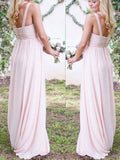 Cheap Pink One Shoulder Long Bridesmaid Dresses , BW0410