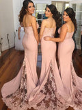 Pretty Pink Lace Spaghetti Strap Sweep Train Long Bridesmaid Dresses , BW0408