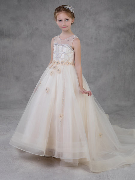 Pretty A-line Jewel Sleeveless Beading Tulle Flower Girl Dress EW1057