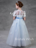 Cute A-line Lace Applique Tulle Short Sleeves Flower Girl Dress EW1056