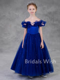 Cute A-line Off-shoulder Tulle Flower Girl Dress EW0159