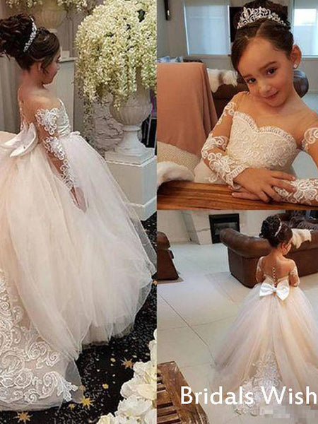 Little Girl  Unique Lace Top Tulle Long Flower Girl Dresses for Wedding Party BW0010