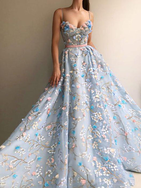 Charming Flower Applique Sky Blue Spaghetti Strap Long Evening Prom Dresses, BW0565