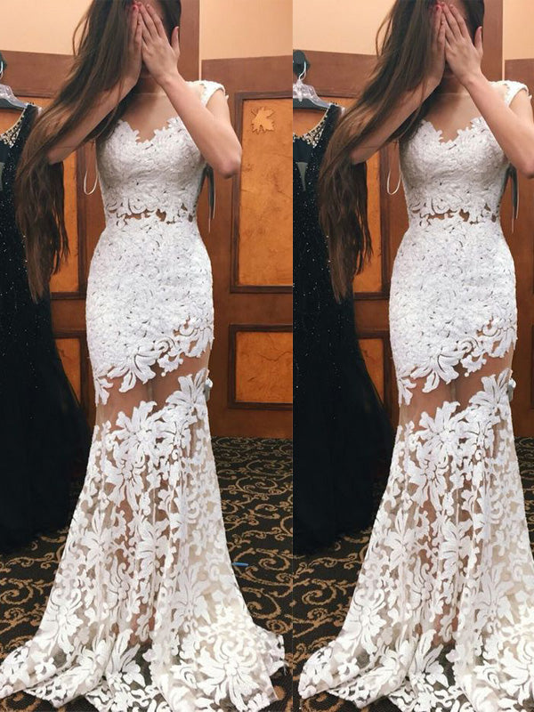 Most Popular White Lace Sweep Train Evening Prom Dresses, BW0271