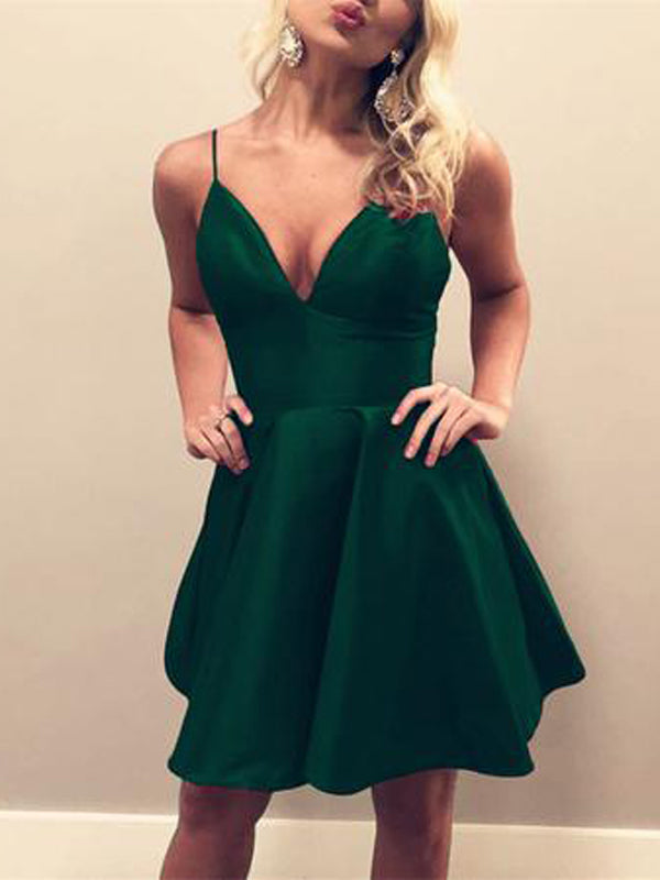 Cheap Spaghetti Strap V-Neck Green Short Homecoming Dresses, BW0369
