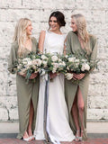Unique Long Sleeves V-Neck Green High-Low Long Bridesmaid Dresses, BW0163