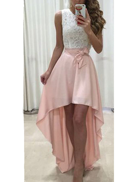 Unique Two Pieces White & Pink Lace Top High-Low Long Evening Prom Dresses, BW0243