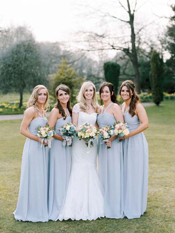Cheap Halter Blue Long Bridesmaid Dresses, BW0160