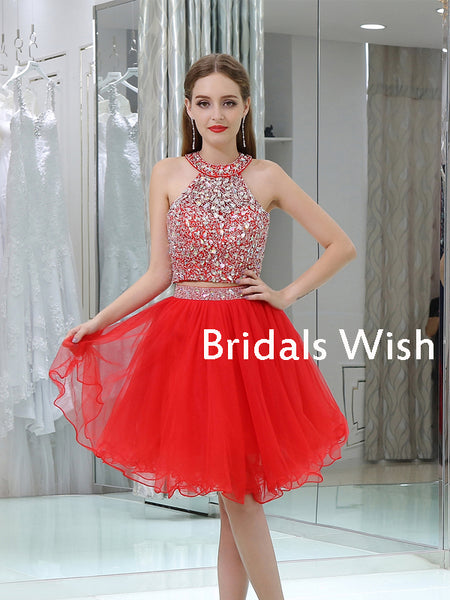 Popular Two Piece A-line Sleeveless Red Rhinestone Tulle Homecoming Dress EW0199