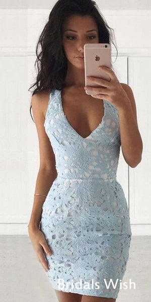 Affordable Sex Lace V-neck Sleeveless Short Homecoming Dress EW0103