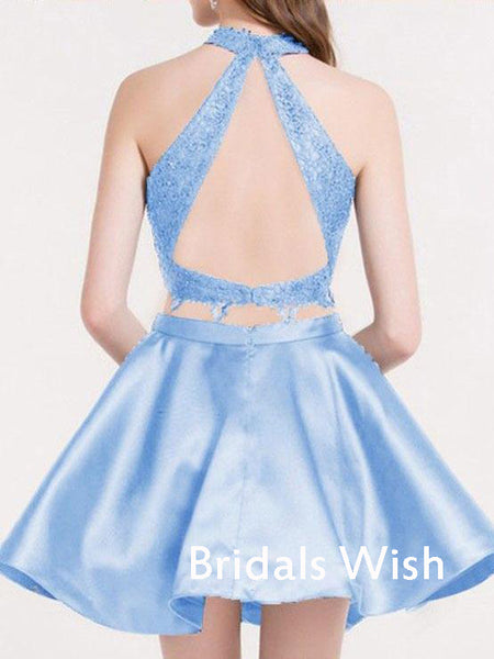 Sky Blue Two Pieces Lace Top Backless Homecoming Dress EW0102