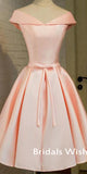 Elegant Pink Satin Off-shoulder Lace Up Homecoming Dress EW0105