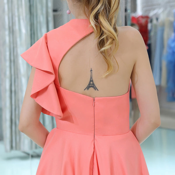 Beautiful Pink One Shoulder Backless Homecoming Dress EW0196