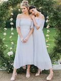 Elegant Lace Top Off The Shoulder High-Low Ankle Length Bridesmaid Dresses, BW0161