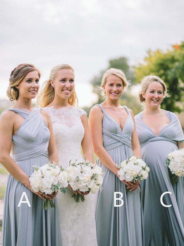 Cheap Blue V-Neck & Cap Sleeve Long Bridesmaid Dresses, BW0162