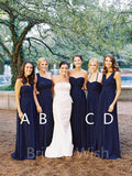 Affordable Navy Blue One Shoulder & Sweet Heart & Halter & V-neck Long Bridesmaid Dresses, BW0155