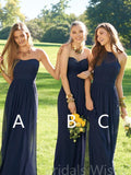 Mismatched Navy Blue Sweet Heart&Halter Long Bridesmaid Dresses, BW0152
