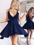 Simple Navy Blue V-Neck Chiffon Short Homecoming Dresses, BW0209