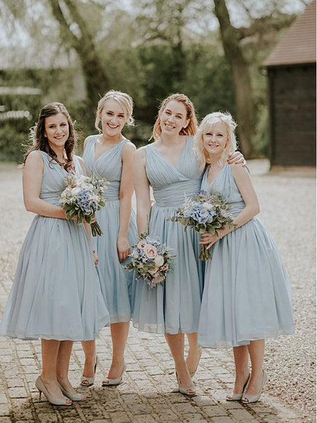Cheap Pale Blue V-Neck Tea Length Sleeveless Long Bridesmaid Dresses , BW0138