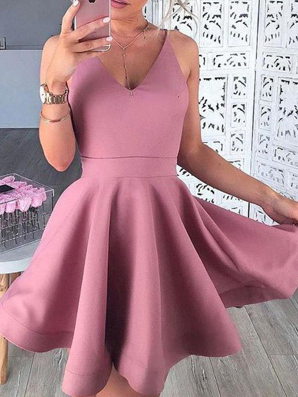 Pretty Pink V-Neck Satin Short Homecoming Dresses, BW0211