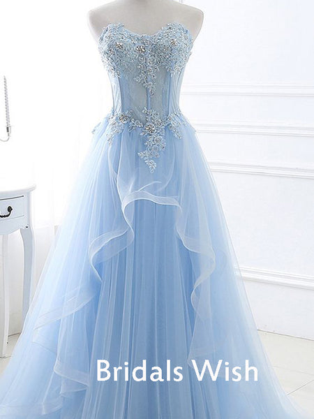 Beautiful Light Blue Lace Top Sleeveless Tulle Long Prom Dress EW0169