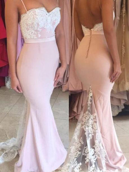 Charming Pink Lace Top Spaghetti Strap Backless Mermaid EW0136