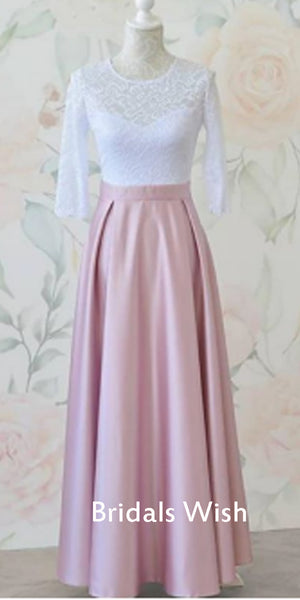 Unique Long Sleeves White  Lace Top Pink Satin Long Prom Dress EW0170
