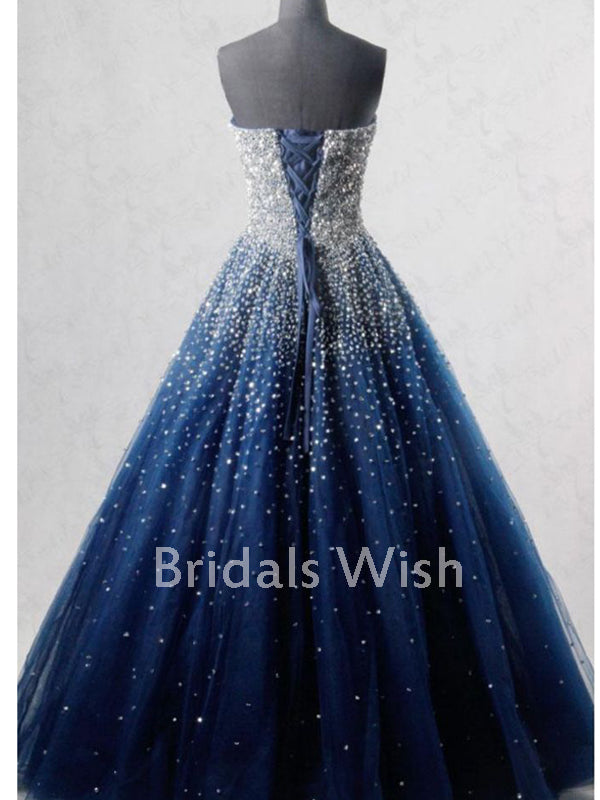 Popular A-line Strapless Navy Blue Long Prom Dress With Beading EW0132