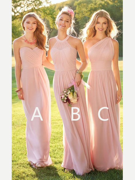 Cheap Pink Sweet Heart&Halter&One Shoulder Long Bridesmaid Dresses , BW0134