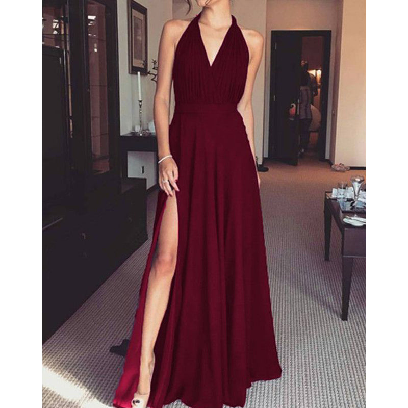 Red Halter V-Neck Side Slit Long Evening Prom Dresses, BW0186