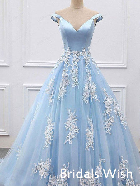 Pretty Sky Blue Tulle Appliqued Off-shoulder V-neck Long Prom Dress BW0405
