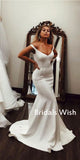 Simple  Mermaid Spaghetti Strap V-neck Wedding Dress With Train ,Wedding Dress EW0178
