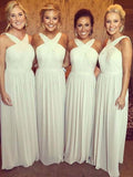 Simple Halter White Chiffon Long Bridesmaid Dresses , BW0178