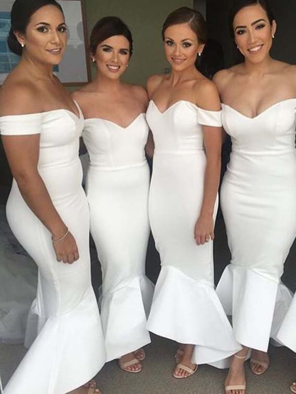 Pretty Off The Shoulder V-Neck Mermaid Long Bridesmaid Dresses, BW0177