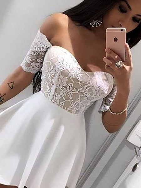 Modern Lace Top Sweet Heart Off the Shoulder Short Homecoming Dresses, BW0206