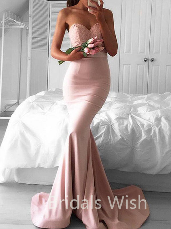 Stunning Pink Sweetheart Sweep Train Lace top Mermaid Long Evening Prom Dresses, BW0080