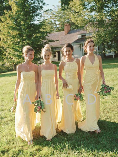 Affordable Light Yellow Sweet Heart & Spaghetti Strap & Halter & V-Neck Long Bridesmaid Dresses , BW0433