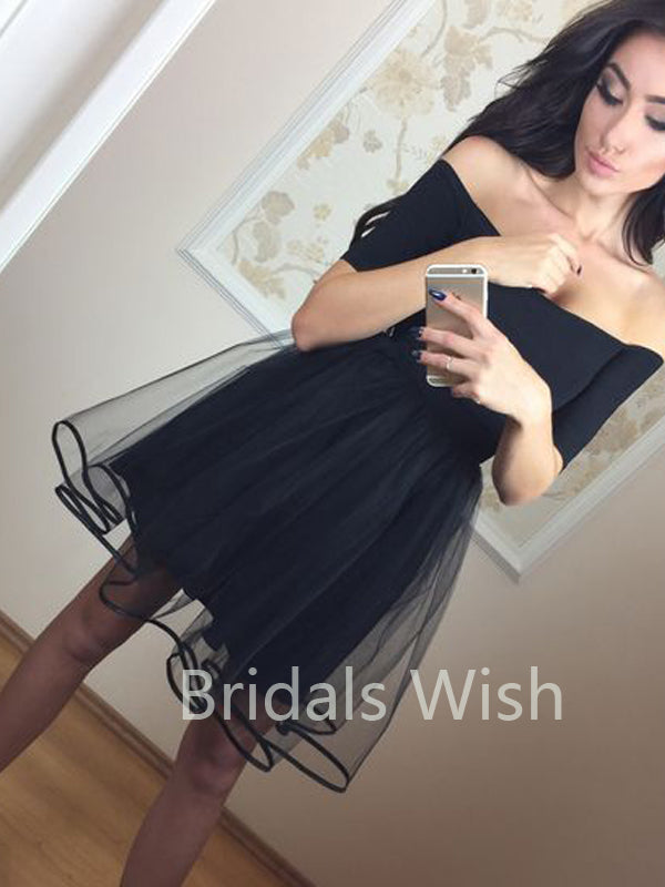 A-Line Off-the-Shoulder Black Tulle Short Homecoming Dresses, BW0091