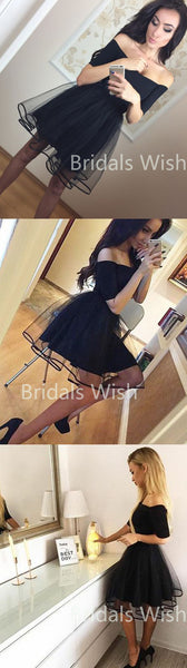 A-Line Off-the-Shoulder Black Short Homecoming Dresses, BW0091