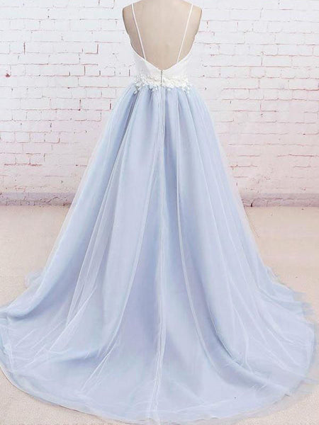Affordable White & Blue Spaghetti Strap V-Neck Applique Tulle Long Evening Prom Dresses, BW0240