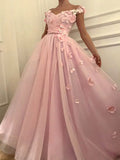 Pink Flower Applique Off the Shoulder V-Neck Long Evening Prom Dresses, BW0242