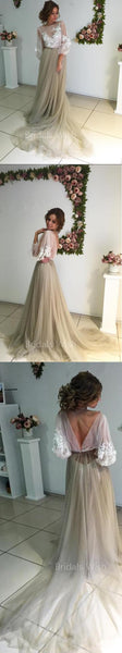 Pretty Applique Tulle with Sweep Train Long Evening Prom Dresses, BW0280